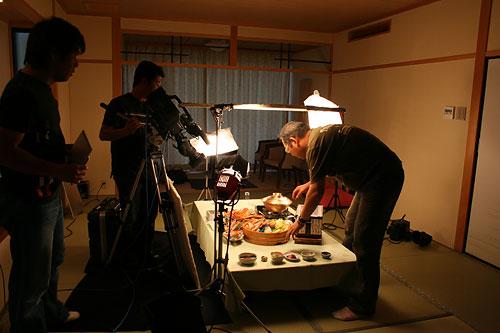 当館自慢のお料理撮影準備